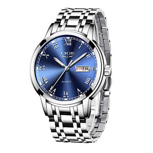 LIGE Stainless Steel Waterproof Watch