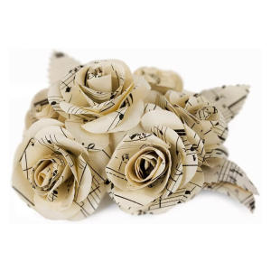 Large Floral White Rose Musical Paper Bouquet