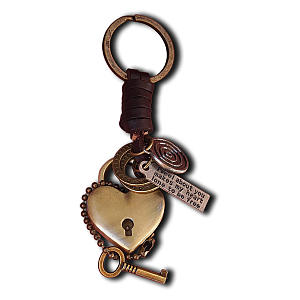 Love Heart Leather Key Chain