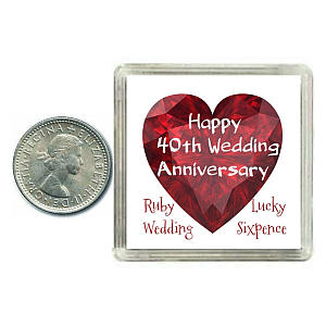 Lucky 40th Anniversary Sixpence Coin