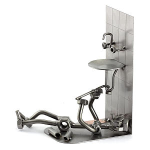 Metal Plumber Sculpture