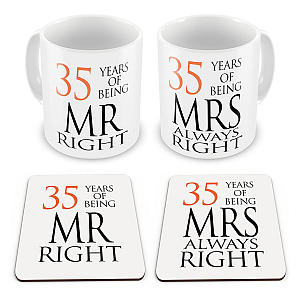 Mr & Mrs 35 Year Mug and Coaster