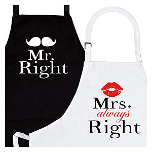 Mr and Mrs Right Aprons