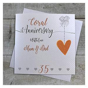 Mum & Dad Coral Anniversary Card
