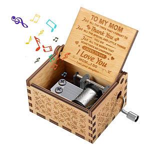 Mum Engraved Hand Cranked Music Box