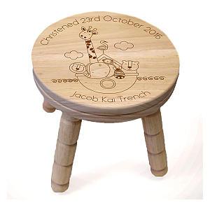 Noah's Ark Engraved Wood Stool
