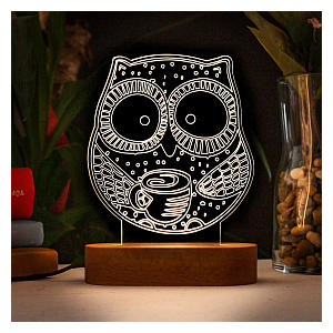 Owl Shaped 3D Night Light