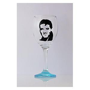 Painted Elvis Wine Glass