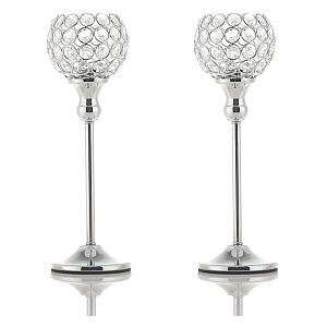 Pair of Crystal Silver Candle Holders