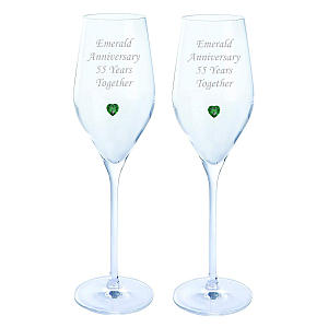 Pair of Emerald Anniversary Prosecco Glasses