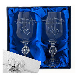 Pair of Engraved Wine Goblets