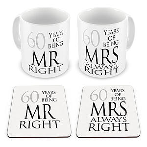 Pair of Mr & Mrs Mugs & Coasters