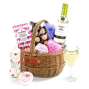 Pampering Hamper with White Wine