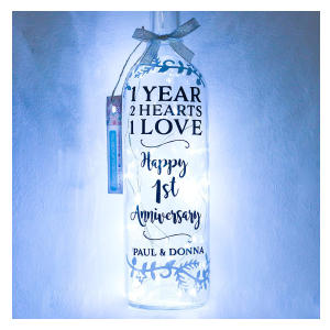 Personalised 1st Wedding Anniversary Bottle Light