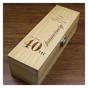 Personalised 40th Anniversary Wine Or Champagne Box