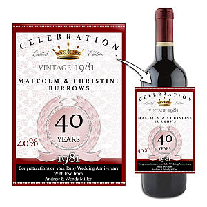 Personalised 40th Ruby Anniversary Bottle Label