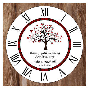 Personalised 40th Ruby Anniversary Clock