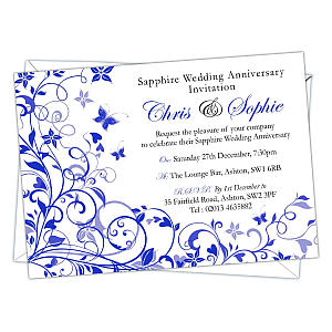 Personalised 45th Wedding Anniversary Invitations