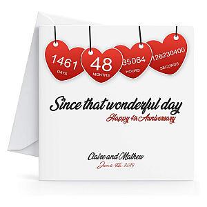Personalised 4th Year Wedding Anniversary Card