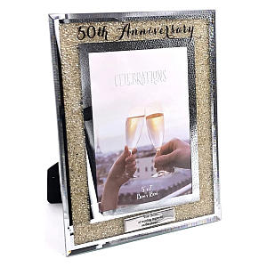 Personalised 50th Anniversary Crystal Border Photo Frame