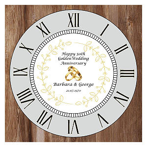 Personalised 50th Golden Wedding Anniversary Clock