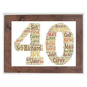 Personalised 60th Framed Word Art