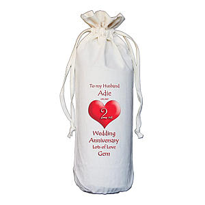 Personalised Anniversary Cotton Bottle Bag