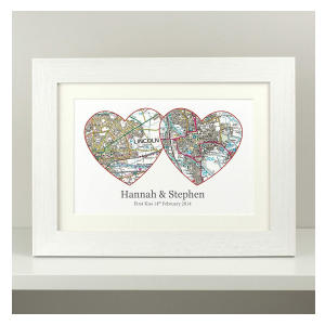 Personalised Anniversary Two Hearts Map Present