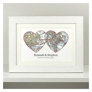 Personalised Anniversary Two Hearts Map