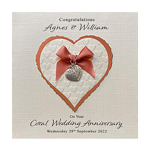 Personalised Coral Anniversary Card