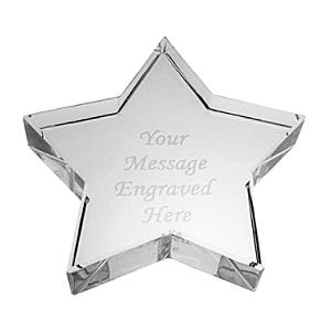 Personalised Crystal Glass Star Paperweight