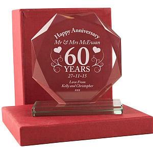 Personalised Diamond Wedding Glass Award