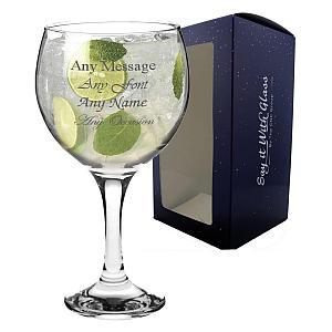 Personalised Engraved Large Gin Glass