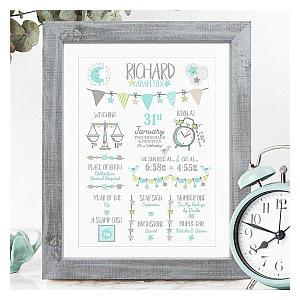 Personalised Framed Birth Print