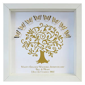 Personalised Golden Butterfly Family Tree Framed Print