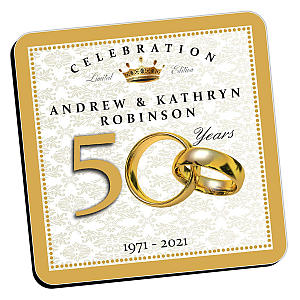 Personalised Golden Wedding Anniversary Coasters