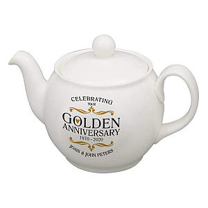 Personalised Golden Wedding Anniversary Teapot