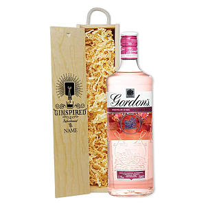 Personalised Gordon's Pink Gin in Wooden Presentation Box