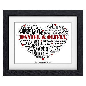 Personalised Heart Word Art Anniversary Print