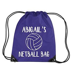 Personalised Kid's Netball Drawstring Bag