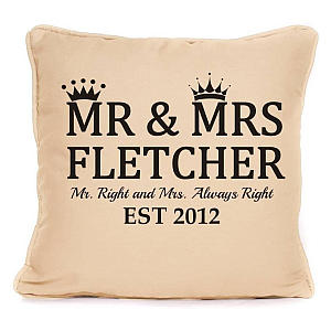 Personalised Mr and Mrs Right Cushion