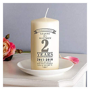 Personalised Second Anniversary Candle