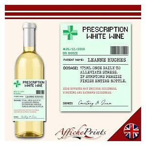 Personalised White Wine Prescription Label
