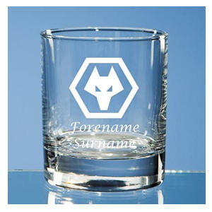 Personalised Wolves Whiskey Glass