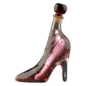 Pink Gin with 22 Carat Gold Flakes in Glass Shoe