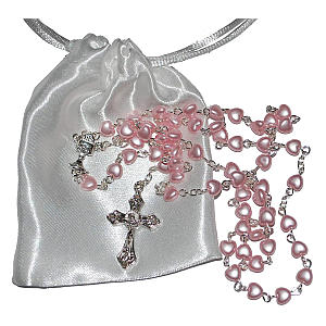 Pink Heart Rosary Beads
