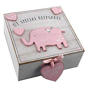 Pink Wooden Memory Keepsake Box