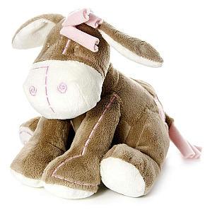 Plush Stuffed Donkey Teddy with Pink Trim