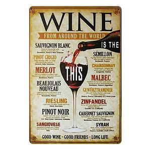 Retro Wine Plaque