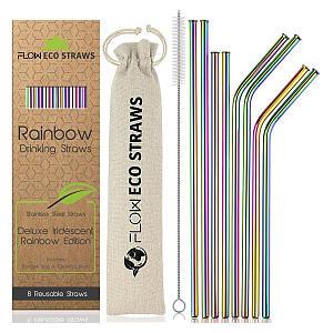 Reusable Rainbow Metal Drinking Straws